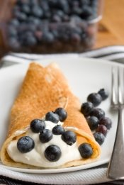 Crepe with creme fraiche and blueberries