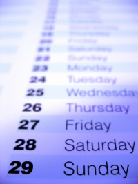 Calendar days for fasting