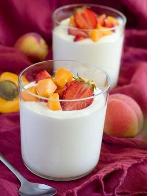 Cups of yogurt with fresh fruit