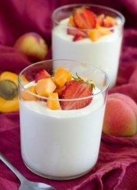 Cup of yogurt with fresh fruit